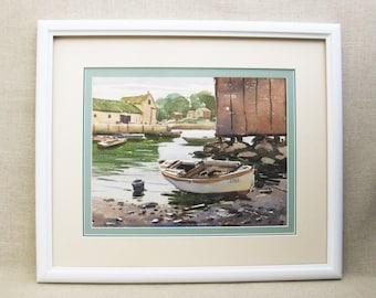 Vintage Boat Painting, Landscape Watercolor, Framed Original Fine Art, Beach House Decor