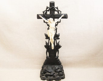Vintage Standing Crucifix of Jesus Christ on the Cross, European Religious Folk Art, Home Altar Decor