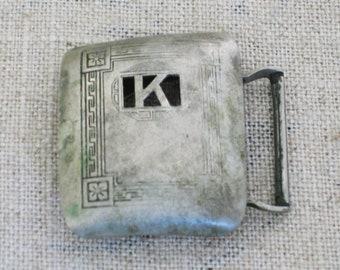 Vintage Belt Buckle, Giant Grip, Silver Plate, Monogram K, Slide Buckle