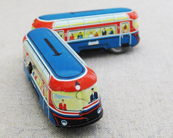 Featured listing image: Vintage Tin Wind Up Double Bus Toy, Metal Train Cars, Litho Printed Antique Toys