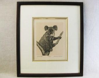 Vintage Koala Bear Etching, Signed Gerald L Lubeck, Framed Original Fine Art