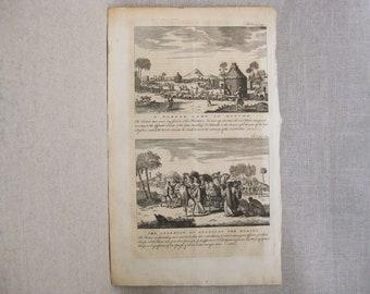 Antique Engraving, John Harris, Travel and Voyage, Tartars, Mongolian, 18th Century Bookplate