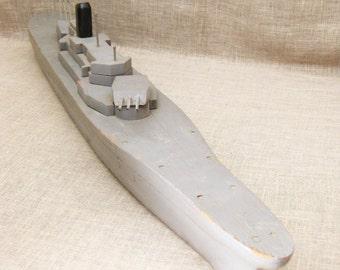 Vintage Handmade Folk Art Wooden Boat, Battleship, Military Ship, Large, Water Vessel, Gray, Rustic, Primitive Toys