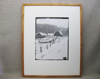 Vintage Winter Landscape, Scratchboard, Rural Farm Scene, Framed Original Fine Art