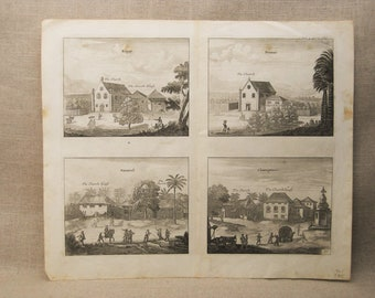 Antique Engraving, Churches of Kopay, Poutour, Linot and Osborn, 18th Century Prints, Voyages and Travels
