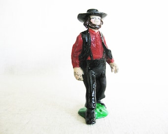 Vintage Male Figure Sculpture, Amish Man Cast Iron Toy, Metal Mid-Century Toys, Antique