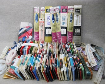 Vintage Sewing Trims, Notions Lot, Zippers, Bias Tape, Rick Rack, Sewing Supplies