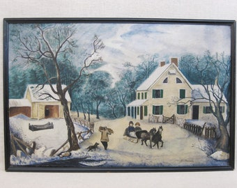 Vintage Folk Art Landscape Painting, Antique Primitive, Rustic Cabin Decor