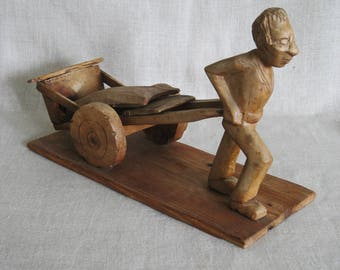 Vintage Folk Art Wood Carving, Man with Cart, Primitive, Rustic, Hand Carved, Male Portrait, Figurative, Handmade, Labor, Farmhouse Decor
