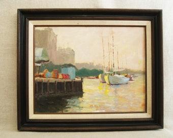 Vintage Landscape Painting, Sail Boats, Urban Marina, Framed Original Fine Art