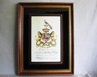 Vintage Coat of Arms, Harcourt Family Crest, Framed Wall Decor