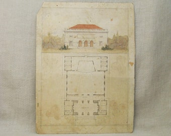 Vintage Architectural Watercolor Painting, Ink Drawing, Rendering, Original Fine Art Illustration