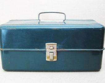 Vintage Tackle Box, Metal Fishing Gear, Storage and Organization, Rustic Cabin Decor