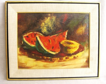 Mid-Century Still Life Painting, Fruit, Signed Weigel, Framed Original Fine Art