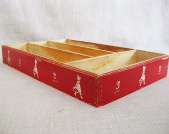 Vintage Organization Tray, Divided Compartment Storage and Organization, Kitchen Decor, Office