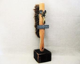 Vintage Male Bust, Folk Art Sculpture, Assemblage, Male Figures, Rustic Cabin Decor