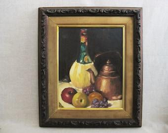 Vintage Still Life Oil Painting, Framed Original Fine Art