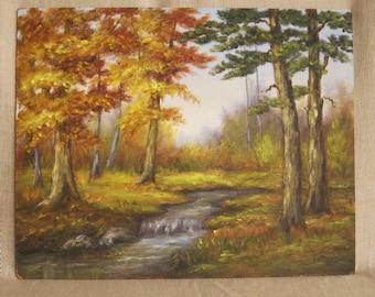 Vintage Landscape Painting on Wooden Panel, Original Fine Art, Masonite, Stream, Forest, Woodlands, Nature, Trees, Autumn, Hand Painted