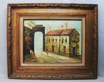 Vintage Urban Landscape Painting, P G Tiele, City Scene, Framed Original Fine Art, European Style Art