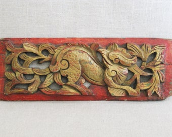 Vintage Asian Carved Wooden Panel, Bird Motif, Antique Carvings