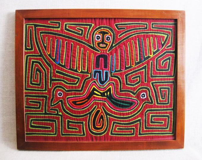 Featured listing image: Vintage Folk Art, Mola, Reverse Applique, Textile Fiber Arts, South American, Framed Tribal Art