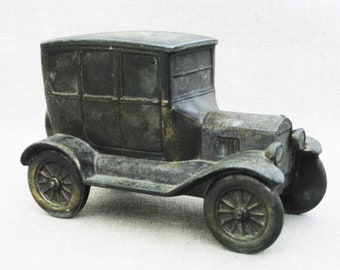 Vintage Piggy Bank, Model T Coin Bank, Banthrico Cast Metal Car