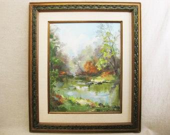 Vintage Landscape Painting, Framed Original Fine Art, Helen Hallett Brook, Large Wall Decor