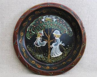 Vintage Pie Tin, Folk Art Painting on Metal Plate