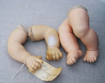 Vintage Doll Parts, Arms and Legs, Soft Plastic, Mid-Century Effenbee Doll