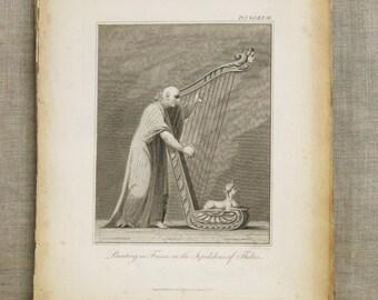 Antique 19th Century Fine Art Print Male Portrait Engraving, Longman