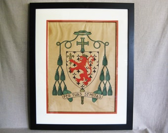 Vintage Religious Coat of Arms, Crest, Per Tuas Semitas, Religious Wall Decor, Large Wall Art
