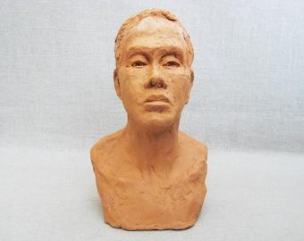 Vintage Male Bust, Terracotta Sculpture, Original Fine Art Ceramics