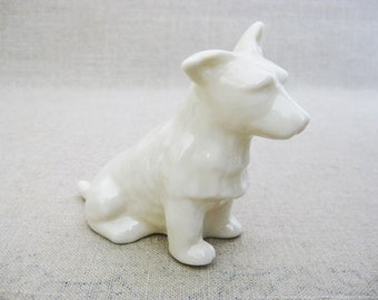 Vintage Belleek Dog Figurine, Terrier Breed, Cream Irish Porcelain, European Ceramics
