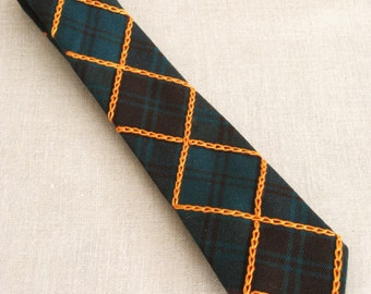 Mens Vintage Navy and Green Plaid Necktie, Hand Embroidery, Orange, Wool, Up Cycled, Preppy