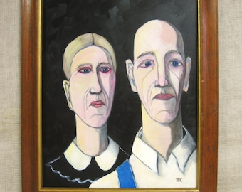 American Gothic, Portrait Painting, Female, Male, Couple Portrait, Wil Shepherd Studio, Grant Wood, Husband and Wife, Original Fine Art