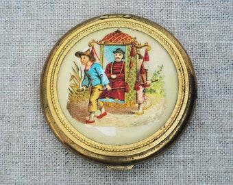Vintage Compact, Powder Cosmetics Case, Asian Theme