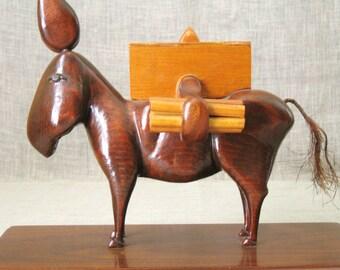 Vintage Folk Art Hand Carved Wooden Cigarette Box, Naughty, Dispenser, Mule, Horse, Animal, Handmade, Equestrian, Carvings, Tobacciana