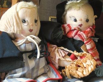 Vintage Cloth Rag Dolls, Folk Art Amish Pair, Couple, Boy and Girl, Male and Female