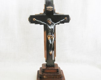 Vintage Standing Cross, Handmade Folk Art Crucifix on Wooden Base, Metal Religious Statue, Home Altar, Up-cycled, Jesus on Cross, Religion