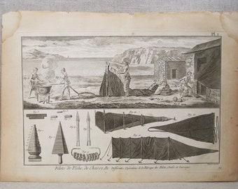Antique Engraving, Robert Bernard, European Prints, Filets de Peche, Fishing Nets, 18th Century