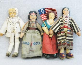 Vintage Cloth Dolls, Hallmark Famous Americans Fabric Dolls