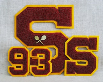 Vintage Varsity Lettermans Patch Collection, Tennis Pin, 93, 39, 93, 36, Group, Capital S, Maroon and Gold, School Pride, Chenille