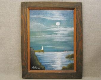 Vintage Landscape, Seascape Painting, Framed Original Fine Art, Mark C Horth, Lighthouse