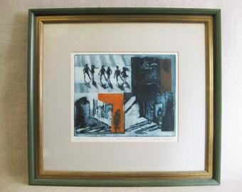Vintage Surreal Etching, Framed Original Fine Art, Lenore Schulman