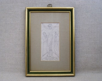 Vintage Religious Drawing, Mid-Century Framed Original Fine Art