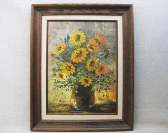 Vintage Flower Painting, Floral Still Life, Framed Original Fine Art, Farmhouse Decor