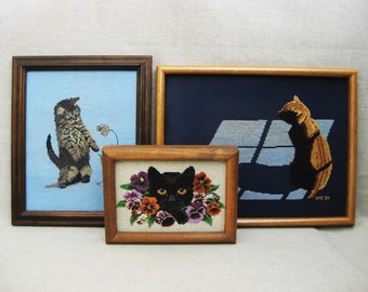 Vintage Cat Cross Stitch, Kitten, Collection Framed Embroidery Wall Decor