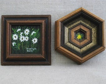 Vintage Flower Painting, Miniature Art, Framed Floral Original Fine Art