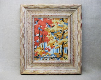 Vintage Landscape Painting, Paint by Number, Mid-Century, Framed Original Art