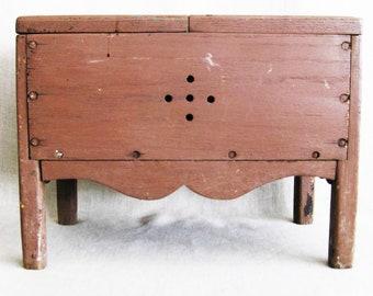 Vintage Shoe Shine Box, Wooden Cabinet, Antique Primitive Chest, Storage Case, Small Side Table
